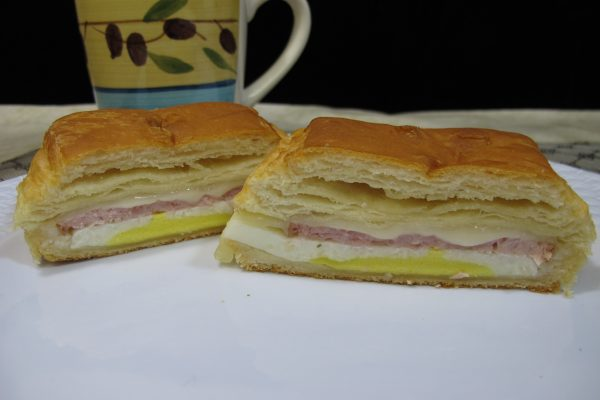 Croissant with Canadian Bacon, Egg, & Provolone Cheese