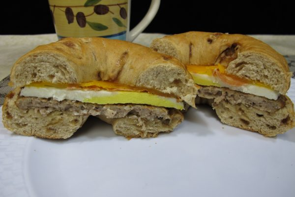 French Toast Bagel with Sausage, Bacon, Egg, & Cheese