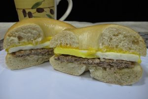 Sausage, Egg, & Cheese on a Plain Bagel